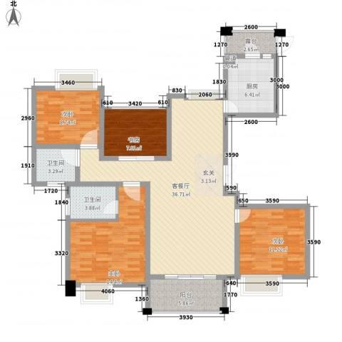 新港天之运4室1厅2卫1厨145.00㎡户型图