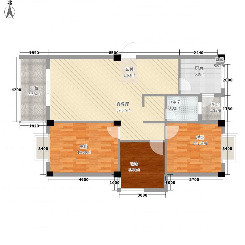 鼓楼庭院98.24㎡鼓楼庭院户型图24#楼01单元3室2厅户型3室2厅