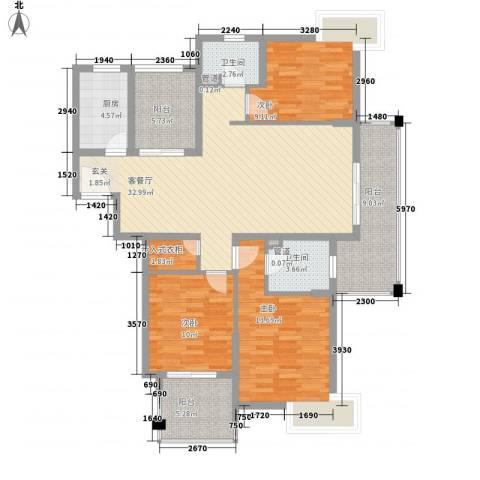 国信世家3室1厅2卫1厨142.00㎡户型图