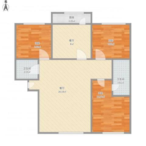 舜玉花园三室两厅两卫3室2厅2卫1厨92.00㎡户型图