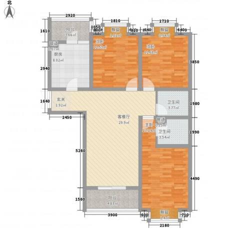 和信花园3室1厅2卫1厨139.00㎡户型图