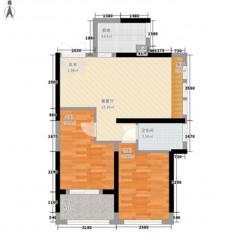 罗蒙环球城2室1厅1卫1厨81.00㎡户型图