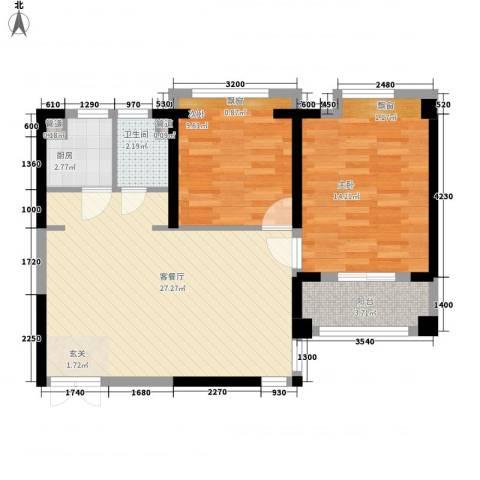 罗蒙环球城2室1厅1卫1厨87.00㎡户型图