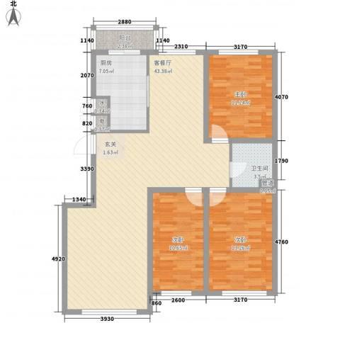 风华新苑3室1厅1卫1厨133.00㎡户型图
