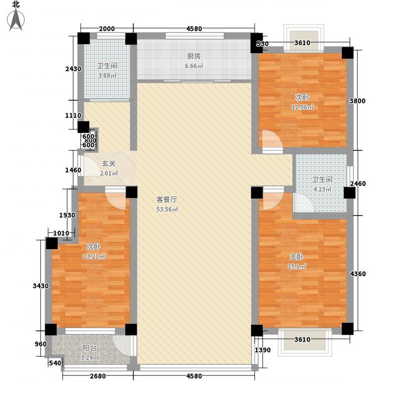 浩然上海城3室1厅2卫1厨157.00㎡户型图