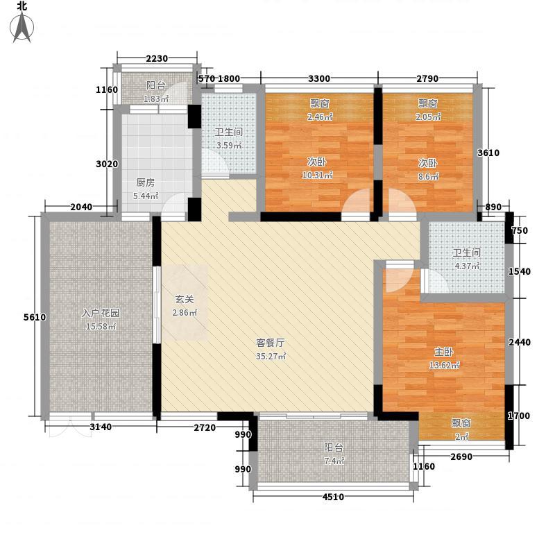 岭南雅苑115.18㎡2单元4号房户型3室2厅2卫