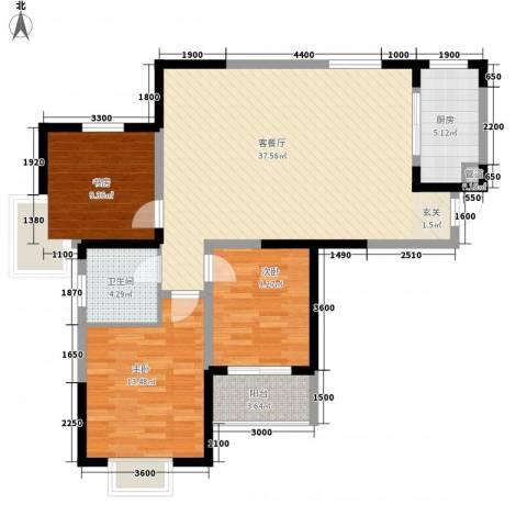 金水湾花园3室1厅1卫1厨118.00㎡户型图