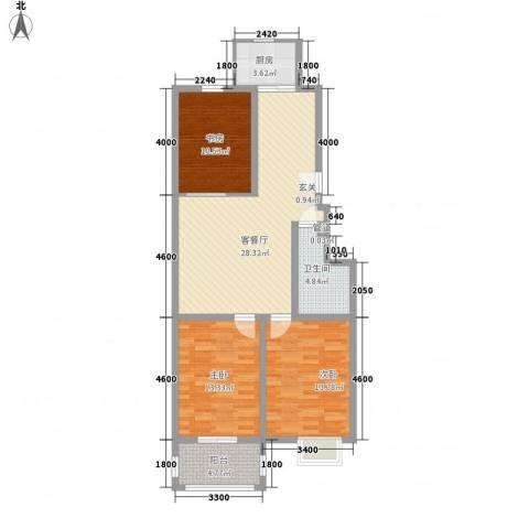 银鹭・金柏湾3室1厅1卫1厨114.00㎡户型图