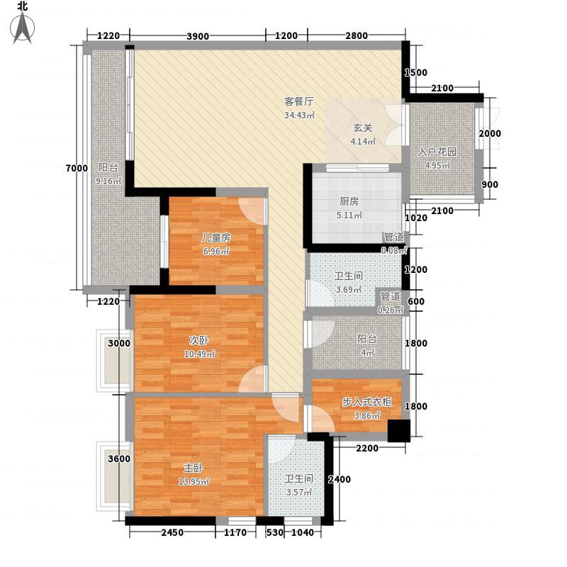 荣恒江景12.70㎡B栋B-02户型3室2厅2卫1厨