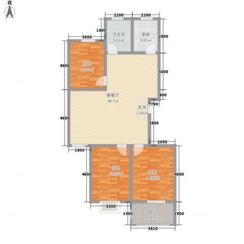银鹭・金柏湾3室1厅1卫1厨134.00㎡户型图