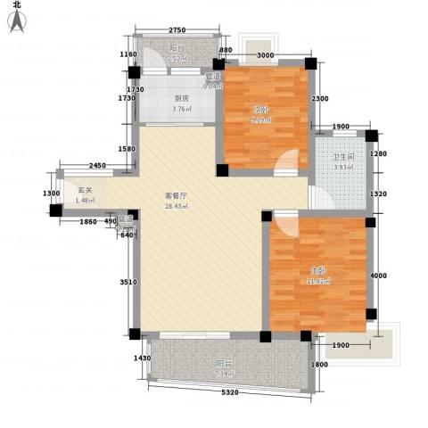 民强99号苑2室1厅1卫1厨97.00㎡户型图