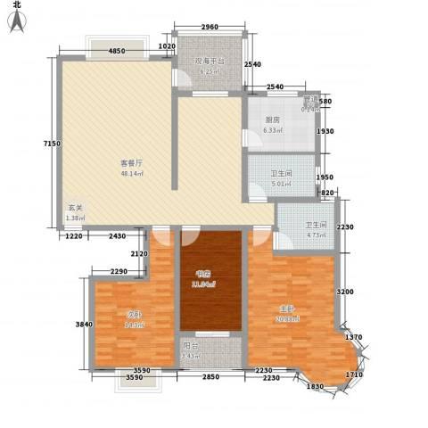 碧海绿洲3室1厅2卫1厨171.00㎡户型图
