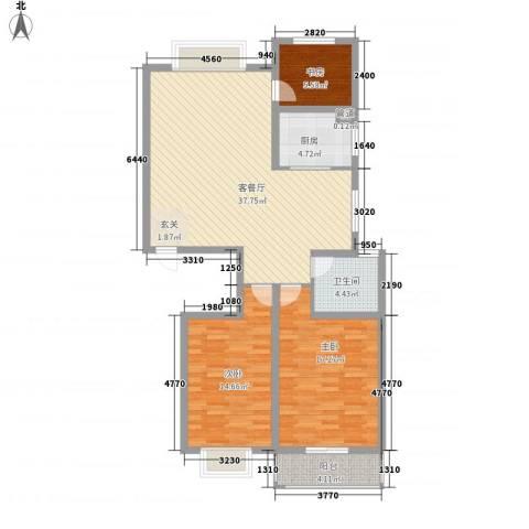 碧海绿洲3室1厅1卫1厨125.00㎡户型图