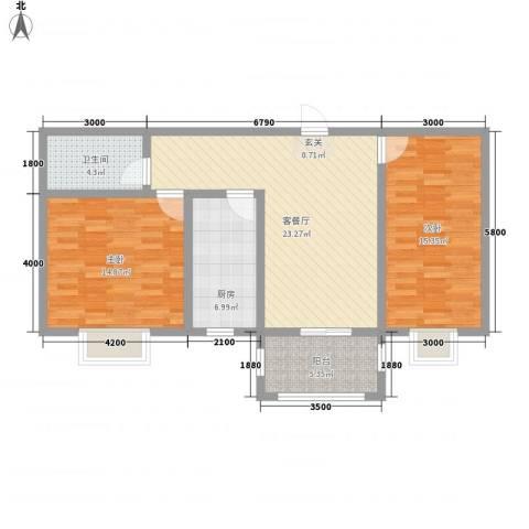 银鹭・金柏湾2室1厅1卫1厨101.00㎡户型图