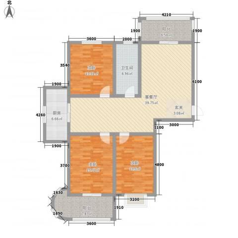 银鹭・金柏湾3室1厅1卫1厨157.00㎡户型图