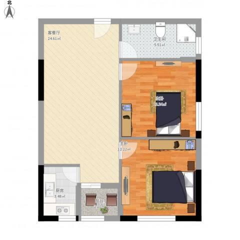 龙旺伯乐佳园2室1厅1卫1厨84.00㎡户型图