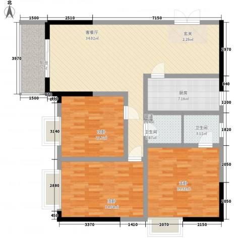 碧海乾图花园3室1厅2卫1厨123.00㎡户型图