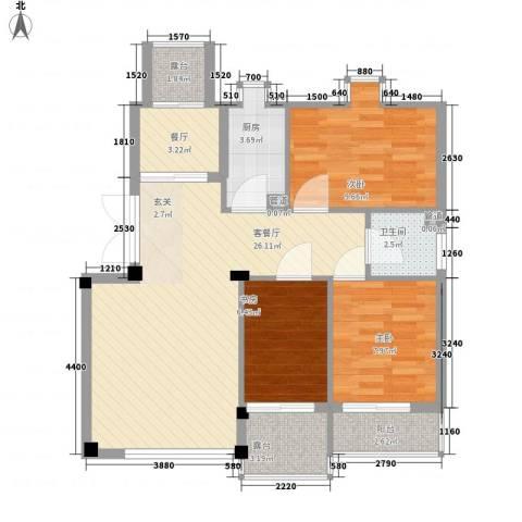 华夏海景3室2厅1卫1厨96.00㎡户型图