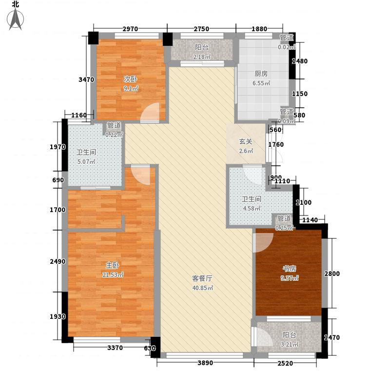 荣合公馆145.00㎡2#、4#楼标准层A户型3室2厅2卫1厨