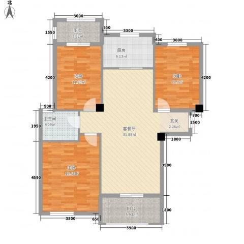宏宇・龙湖湾3室1厅1卫1厨116.00㎡户型图