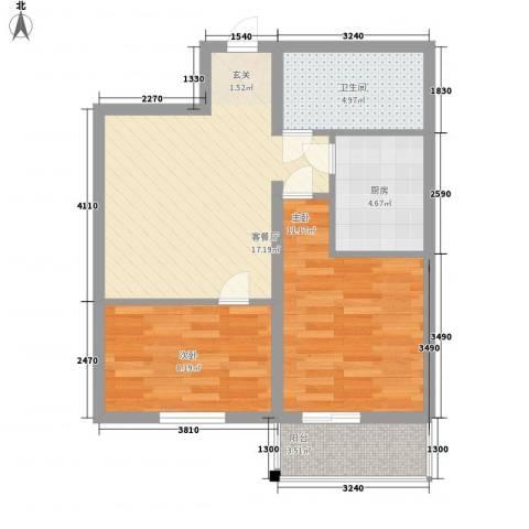 山水名园2室1厅1卫1厨72.00㎡户型图