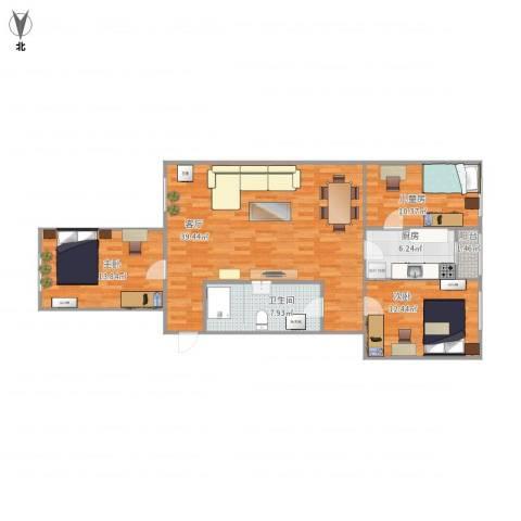 政通路2号院3室1厅1卫1厨122.00㎡户型图