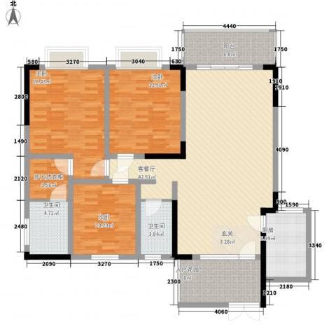碧海乾图花园3室1厅2卫1厨154.00㎡户型图