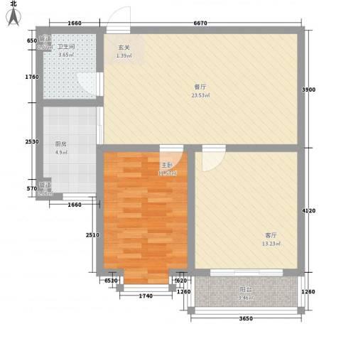 福祉家园1室2厅1卫1厨87.00㎡户型图