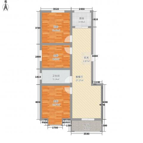 锦绣西双3室1厅1卫1厨106.00㎡户型图