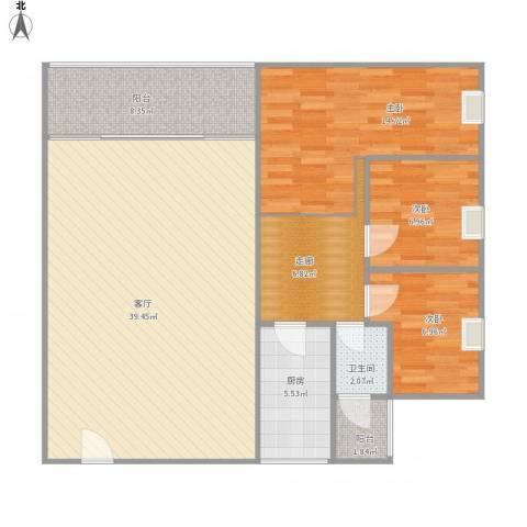 水北新村二期3室1厅1卫1厨103.00㎡户型图