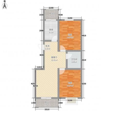 锦绣西双2室1厅1卫1厨91.00㎡户型图