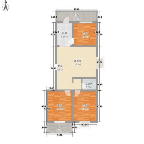锦绣西双3室1厅1卫1厨117.00㎡户型图