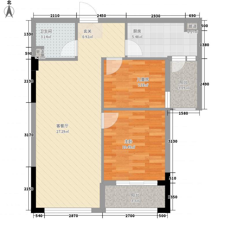 佳境天城86.00㎡高层1#D户型2室2厅1卫1厨