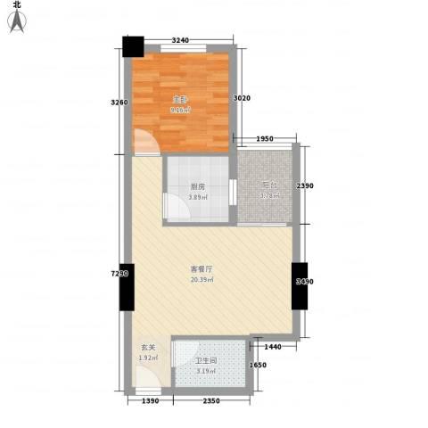 蓝山国际公寓1室1厅1卫1厨58.00㎡户型图
