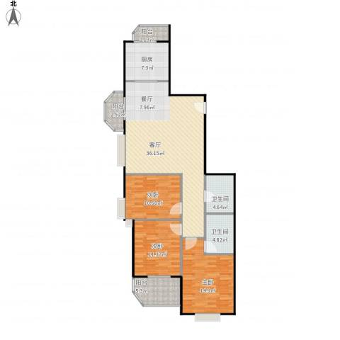 佳境观邸3室1厅2卫1厨134.00㎡户型图