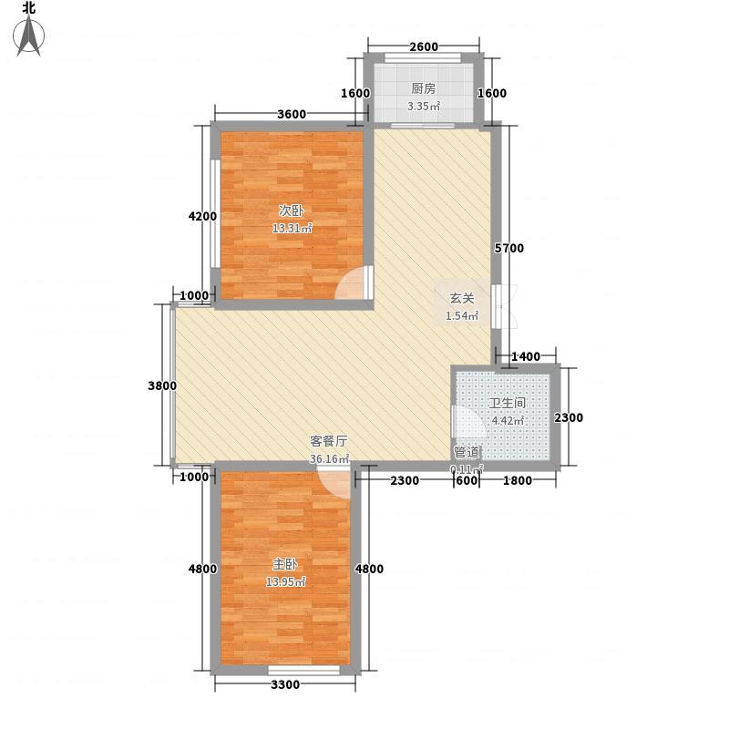 中新花园8.00㎡领世郡组团A1户型2室2厅1卫