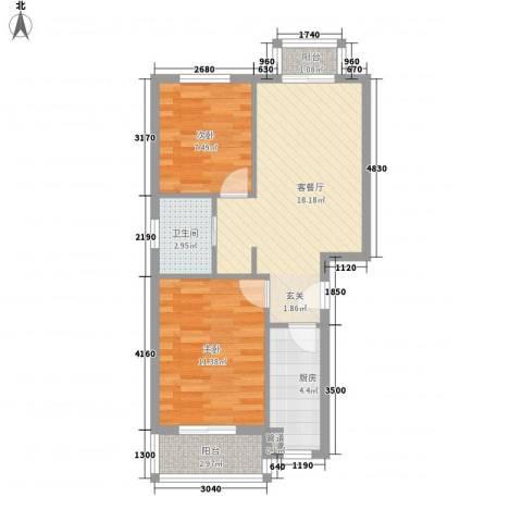 阳光花园2室1厅1卫1厨70.00㎡户型图