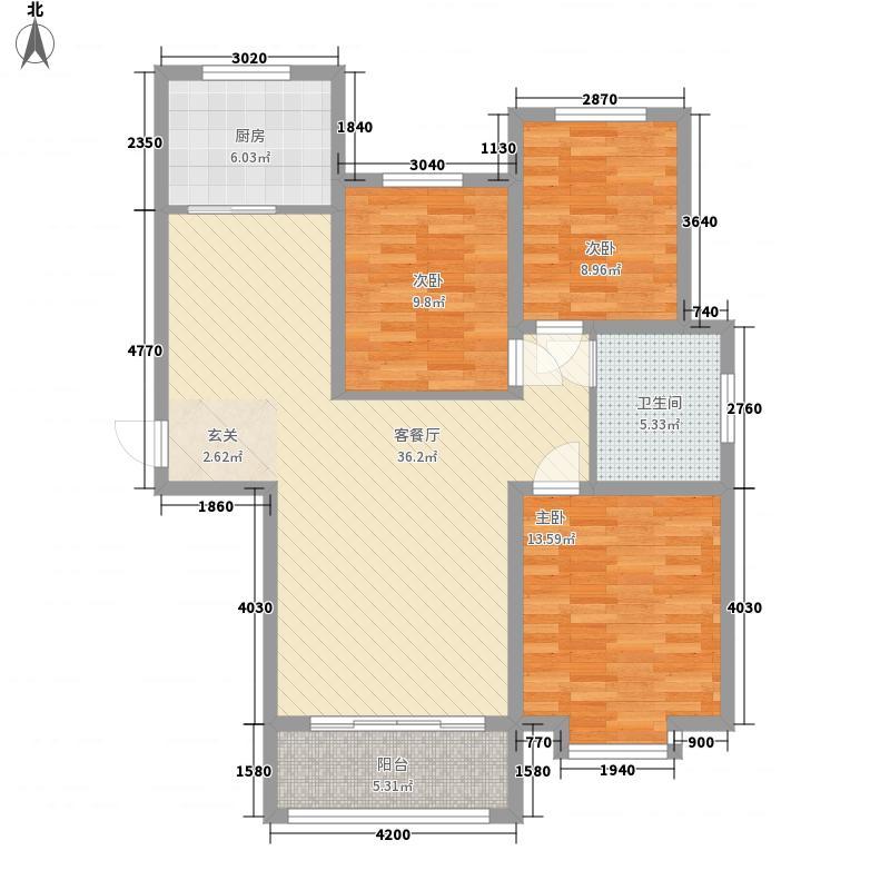 北京宫馆3室1厅1卫1厨122.00㎡户型图