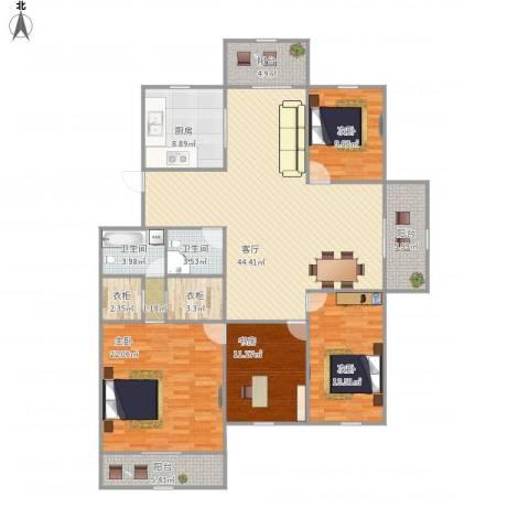 万家花园4室1厅2卫1厨189.00㎡户型图
