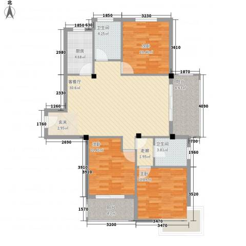 云海观澜3室1厅2卫1厨123.00㎡户型图