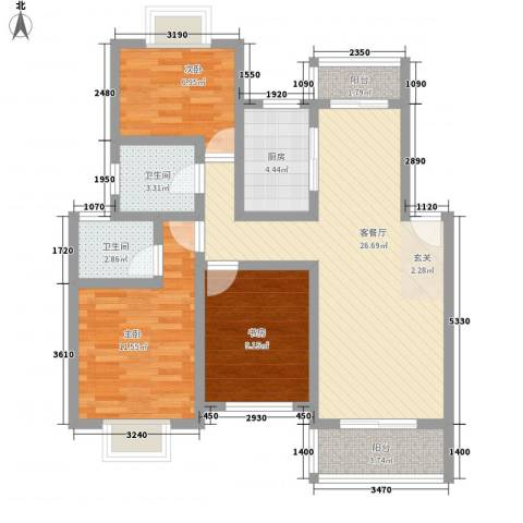 阳光花园3室1厅2卫1厨105.00㎡户型图