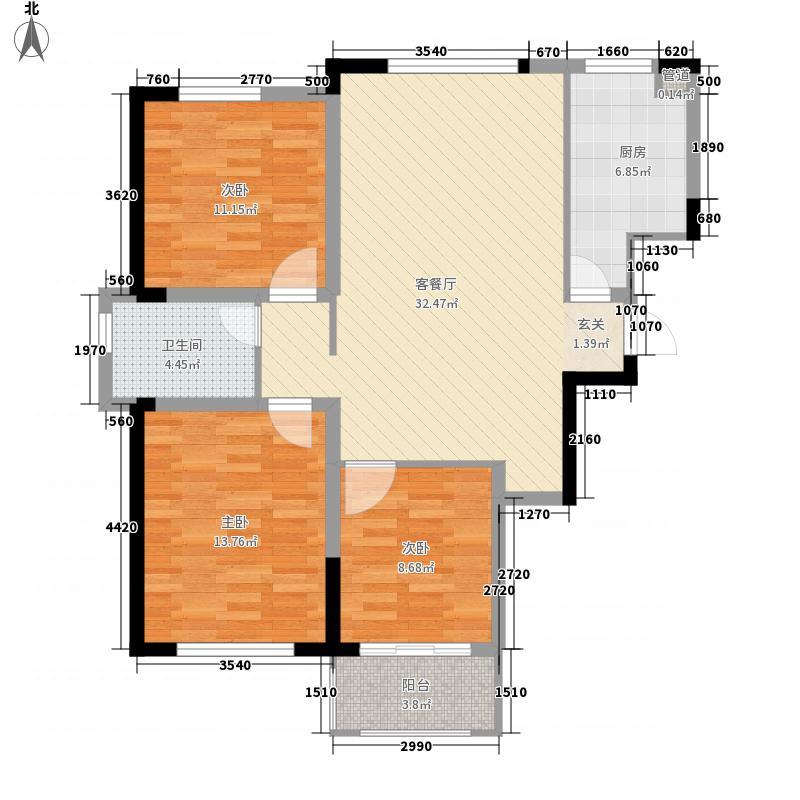 佳境天城115.00㎡高层2#A户型3室2厅1卫1厨