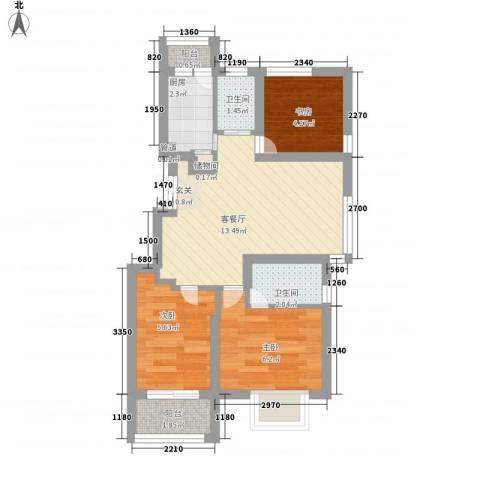 凯铂精品酒店3室1厅2卫1厨46.40㎡户型图