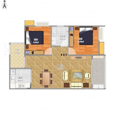 希尔安江上城2室1厅1卫1厨89.00㎡户型图