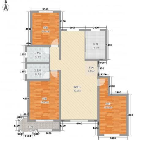 帝豪・丽水蓝湾3室1厅2卫1厨146.00㎡户型图