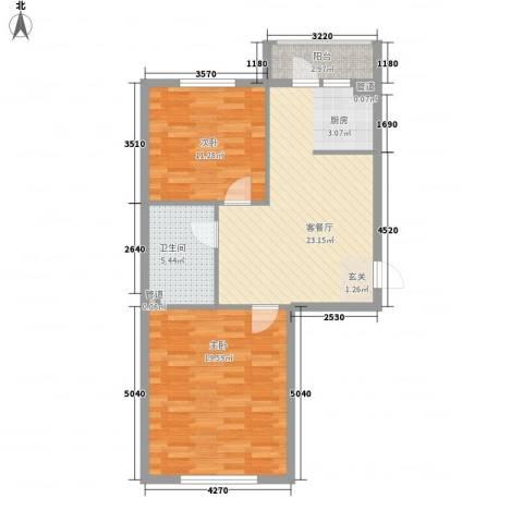 翰香府2室1厅1卫0厨87.00㎡户型图