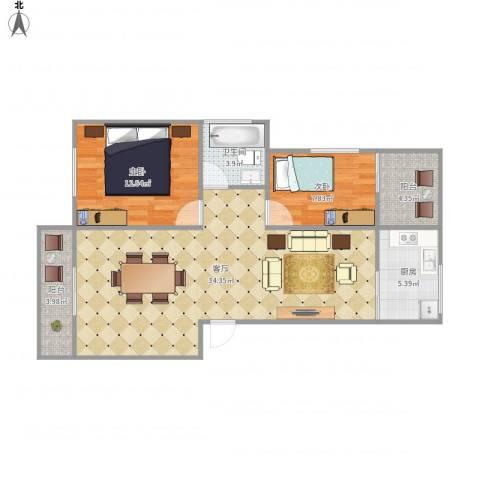 桦润馨居一期7250022室1厅1卫1厨98.00㎡户型图