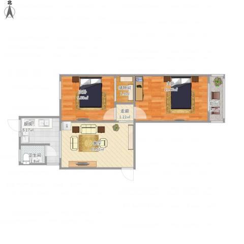 翠微路16号院小区2室1厅1卫1厨68.00㎡户型图