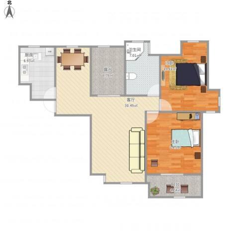 世茂江滨花园碧景湾2室1厅1卫1厨113.00㎡户型图