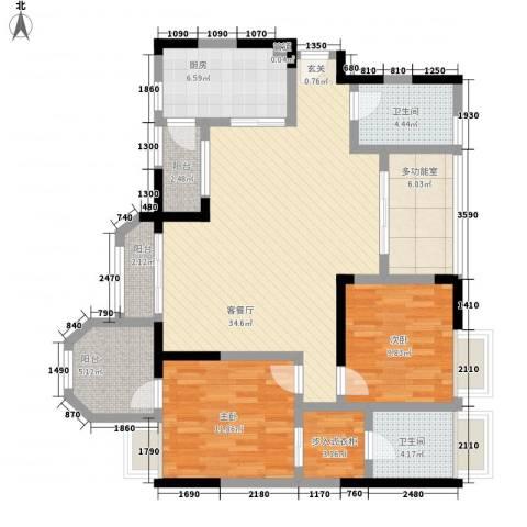 凯泰欧城2室1厅2卫1厨120.00㎡户型图